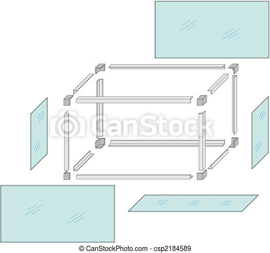 Drawing of a self-made metal aquarium - csp2184589