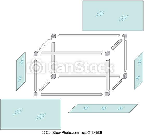 Drawing of a self-made metal aquarium - csp2184589