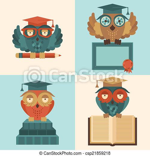 Vector Clip Art of Owls in graduation caps set flat - Flat colored ...