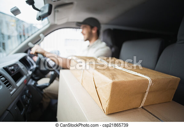 Delivery driver driving van