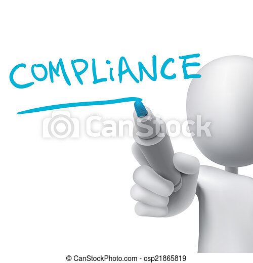 Vector Clip Art of compliance word written by 3d man over white csp21865819 - Search Clipart ...