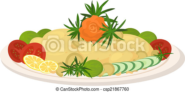 clip art vector of meal on dish roast vegetables