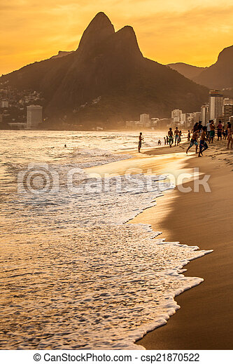 View of Ipanema Beach in the evening, Brazil  - csp21870522