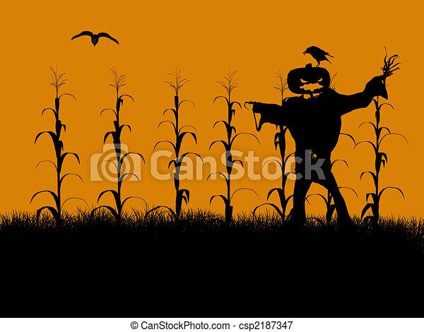Halloween Illustration silhouette - csp2187347
