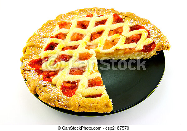 Apple and Strawberry Pie with a Slice Missing - csp2187570