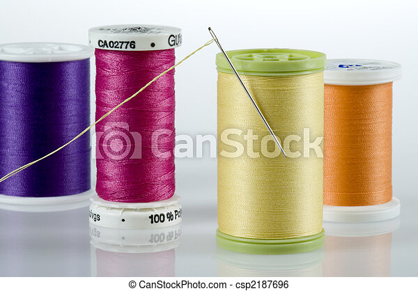 Needle and thread with four spools of thread - csp2187696