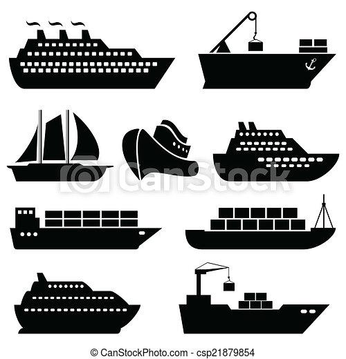 船, 船, 货物, 后勤, 航运, 图标 - csp21879854