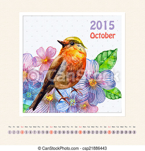 Stock Photo of Calendar for october 2015 with bird, watercolor painting csp21886443 - Search ...