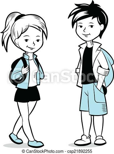 Clipart vector van jongen meisje rugzakken spotprent jongen en meisje csp21892255 - Twee meisjes en een jongen ...