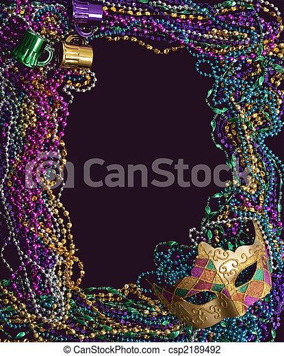 Mardi Gras Mask and Beads - csp2189492