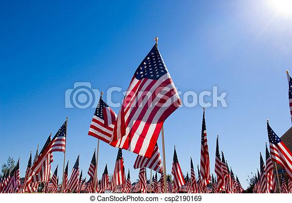American Flag Display in honor of Veterans Day - csp2190169