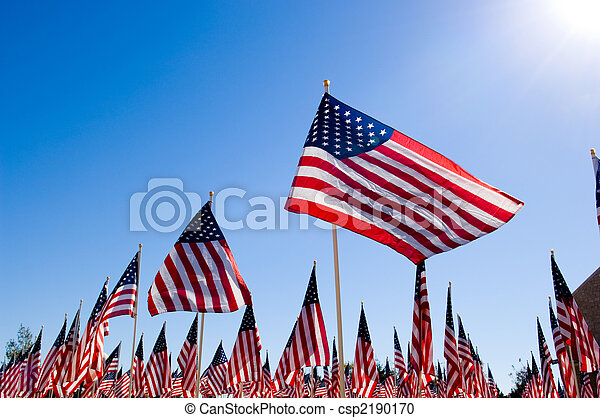 American Flag Display in honor of Veterans Day - csp2190170