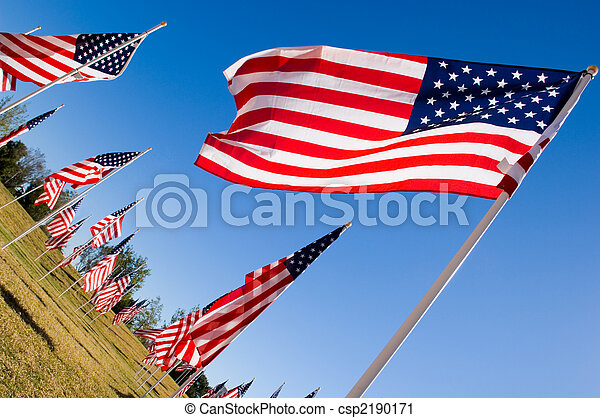 American Flag Display in honor of Veterans Day - csp2190171