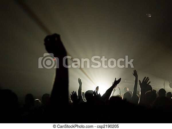 Musical Concert - Christian - with uplifted hands worshipping - csp2190205