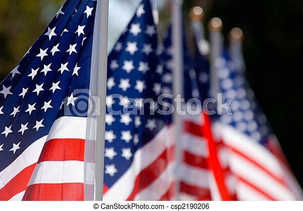 American Flag Display in honor of Veterans Day - csp2190206