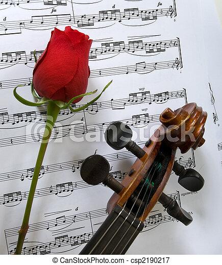 Violin, Rose and sheet music - csp2190217