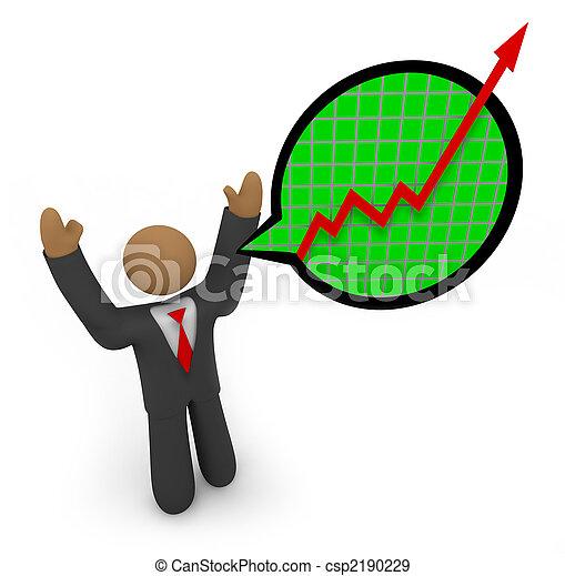 Predicting Major Growth - Businessman Speech Bubble - csp2190229
