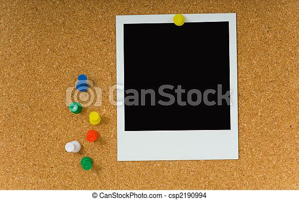 Polaroid picture on Corkboard - csp2190994