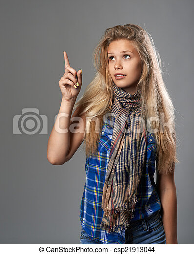 girl points to the something that top