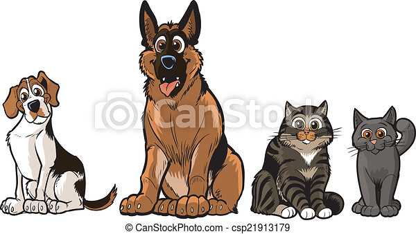 Vectors Illustration of Group of Cartoon Dogs And Cats ... Tabby Cat Cartoon Drawing