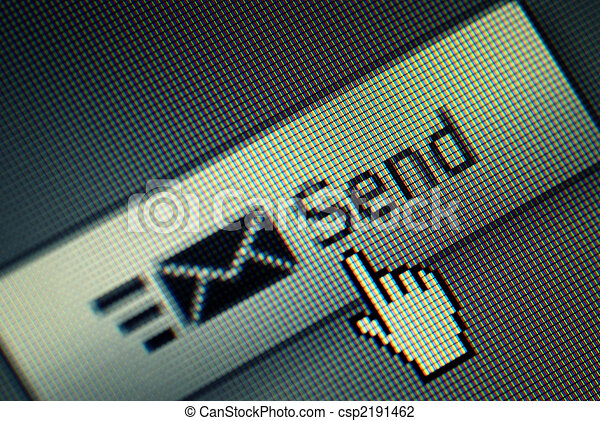 Close-up of a send button and na hand mouse cursor - csp2191462