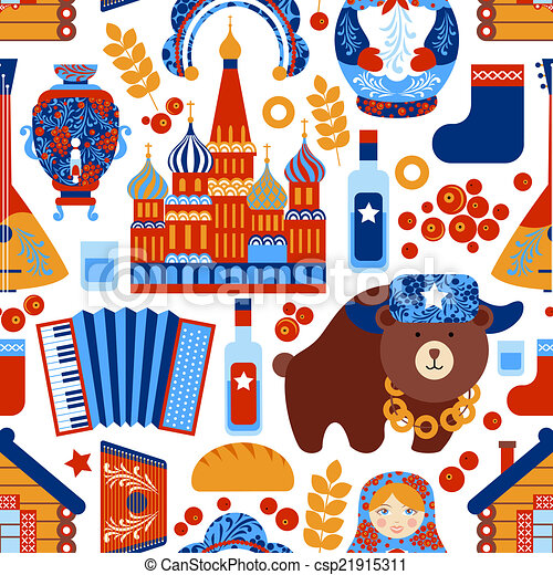 Vector Clip Art of Russia travel seamless pattern - Russia travel ...