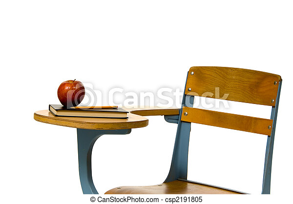 School desk with apple - csp2191805