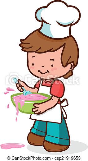 Clip Arte Vetor De Cozinheiro Menino Pequeno Cozinhar