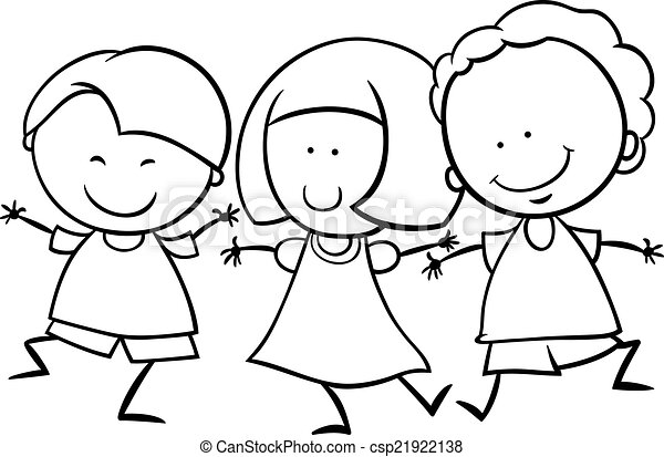 Vectors of multicultural children coloring page - Black ...