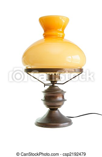Table lamp stylized as antique oil lamp isolated - csp2192479