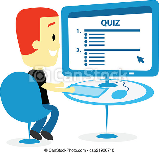 Vector Clip Art Of Man Taking A Quiz On Computer Screen