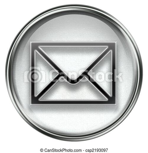 postal envelope grey, isolated on white background - csp2193097