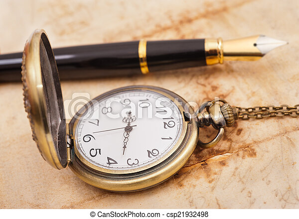 fountain pen and pocketwatch