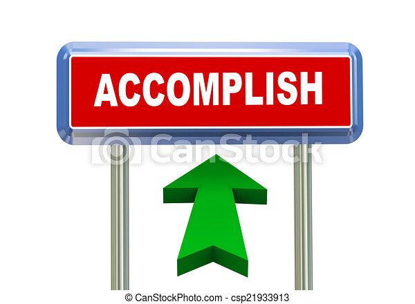 Clipart of 3d arrow road sign - accomplish - 3d rendering of ...