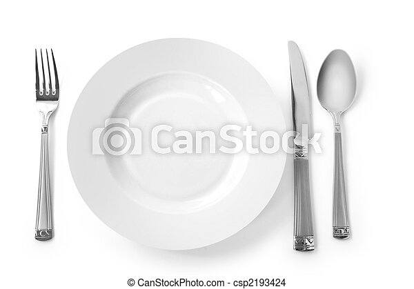 plate with fork, knife and spoon - csp2193424