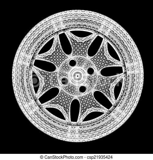 Clip Art of 3d model of car wheel rims on a black background ...