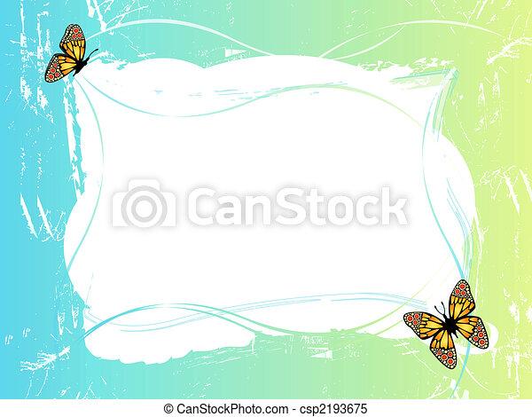 Stock De Ilustraciones   Azul  Verde  Marco  Mariposas   Stock De