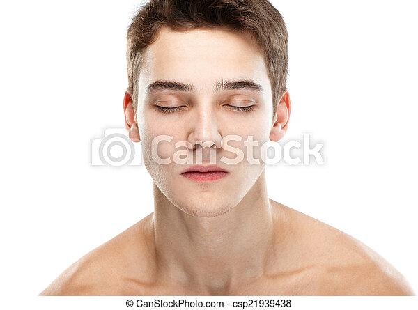 Naked man closed eyes - csp21939438