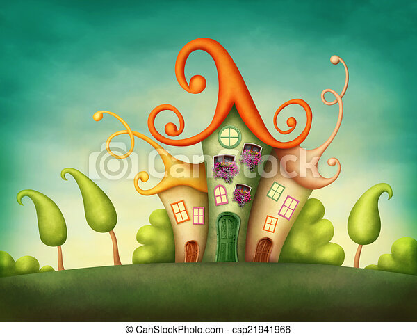 Archivio illustrazioni di fantasia case in il for Disegni di case di tronchi