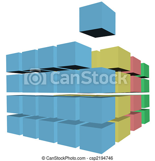 Puzzle rows of abstract cubes boxes cartons in colors - csp2194746