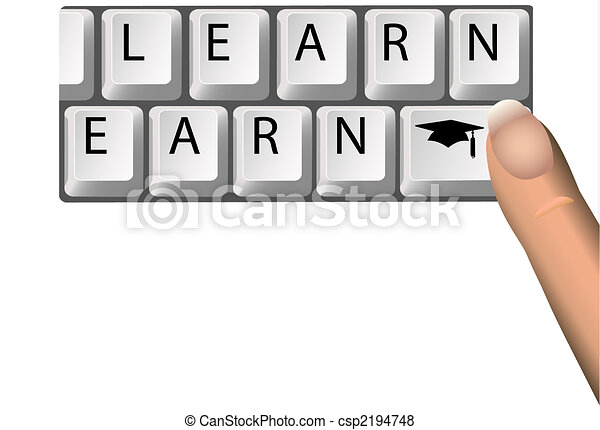 LEARN to EARN Education Graduation Keys on Computer - csp2194748