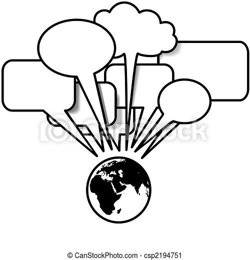 Earth East talks blogs tweets in speech bubble copyspace - csp2194751