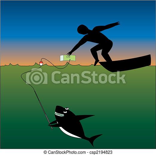 Shark Eating Man Drawing Shark And Man Csp2194823