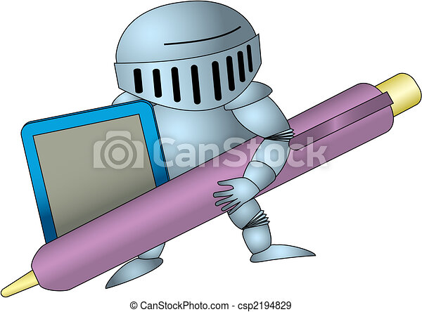 Knight with stylus and tablet - csp2194829