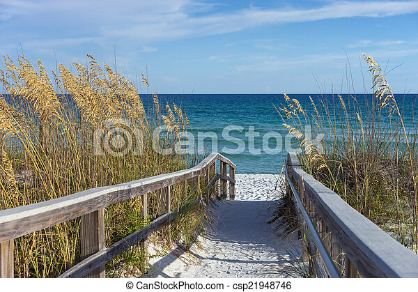 Beach Boardwalk With Dunes And Sea Stock Image
