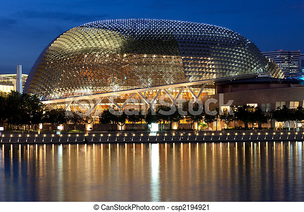 Esplanade Theatre on the Bay at dusk with beautiful reflections - csp2194921