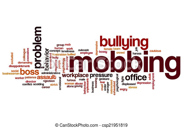 mobbing word cloud clipart concept background bullying workplace illustration clip pleasant illustrations bully shutterstock royalty icon gograph canstockphoto