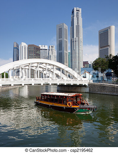 Singapore financial district framed by Elgin Bridge and River - csp2195462