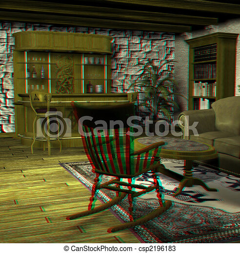 Drawings of old fashioned living room - This is an anaglyph image ...