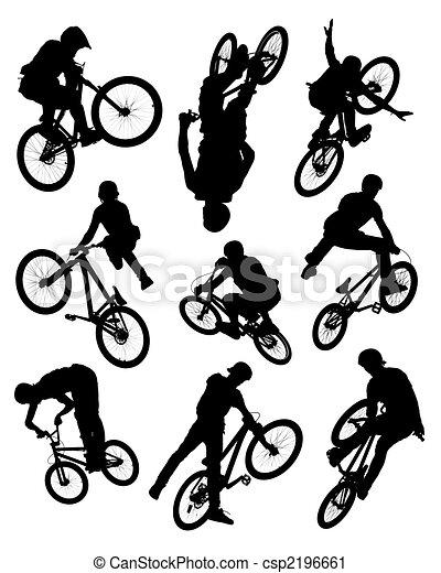 Bike stunt silhouettes - csp2196661